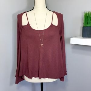 Maroon Cold Shoulder Knit Long Sleeve Sweater Sz S